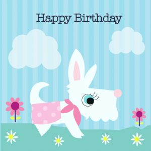 Happy Birthday Card - White Dog